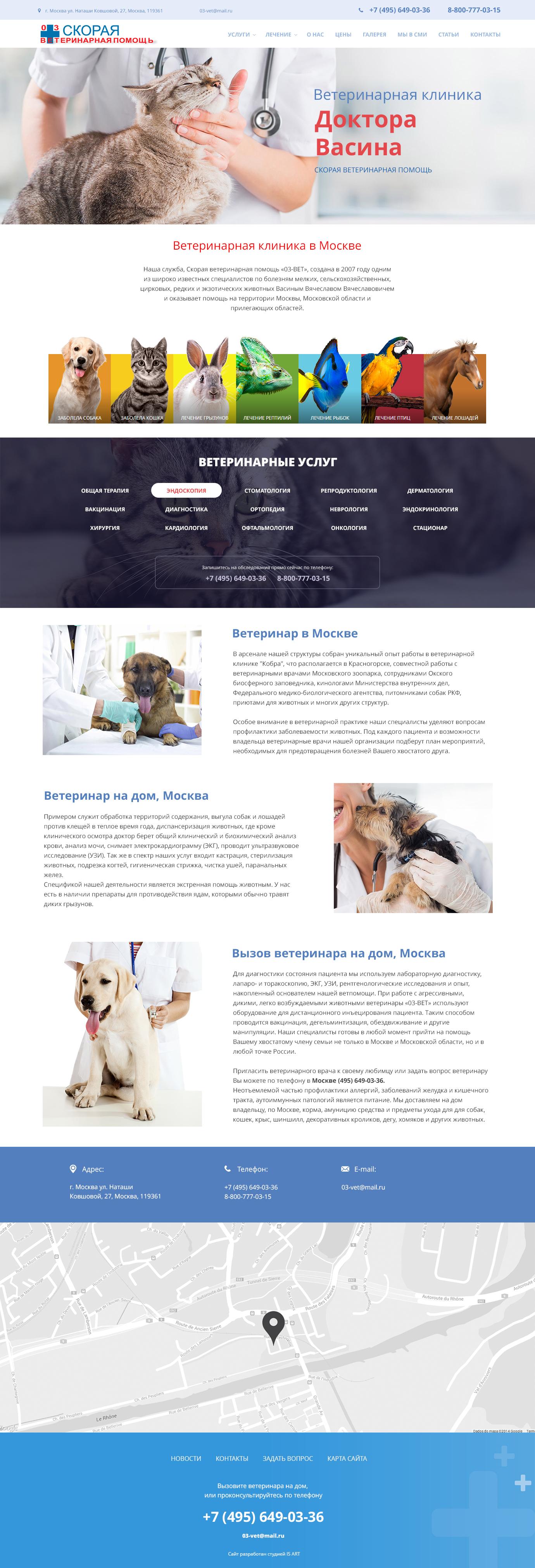 Макет сайта Ветеринарные услуги 1