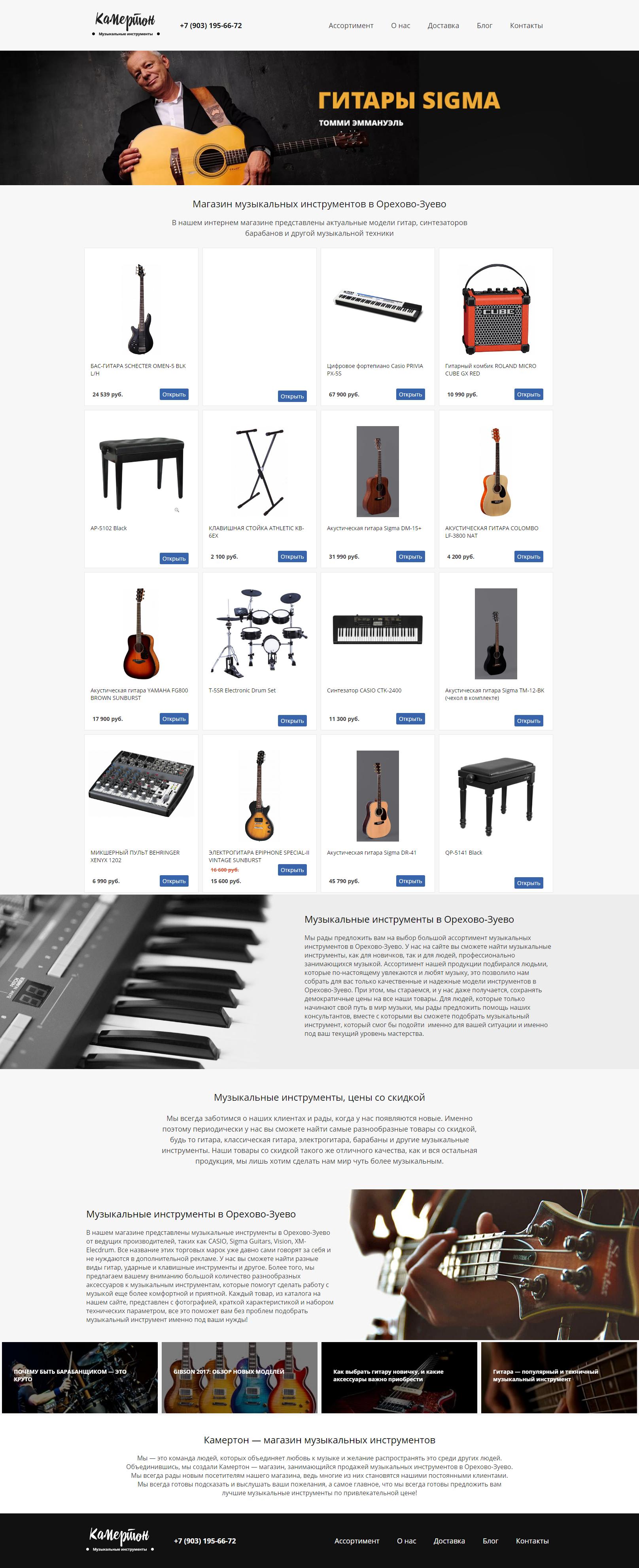 Макет сайта Магазин музыкальных инструментов 1