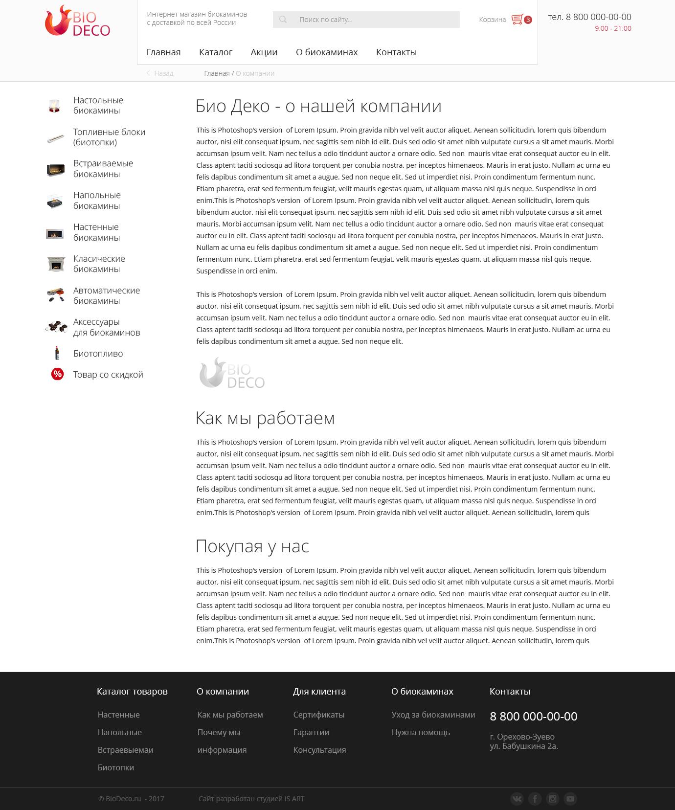 Макет сайта Интернет магазин для продажи биокаминов 4